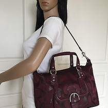 Nwt Coach Campbell Burgundy Satchel Spakle Signature Convertible Bag Purse Photo