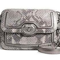 Nwt Coach Campbell Exotic Leather Camera Bag Python Silvery Grey Photo