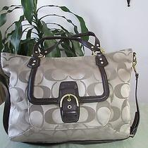 Nwt Coach Campbell Izzy Signature Fashion Satchel F25290 Khaki / Mahogany Photo