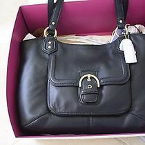 Nwt Coach Campbell Leather Belle Carryall Tote Bag F24961 Black Color Photo
