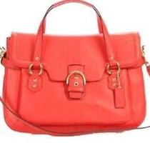 Nwt Coach Campbell Leather Small Flap Satchel Bag Hot Orange 27231  Photo