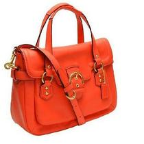 Nwt Coach Campbell Leather Small Flap Satchel Bag Hot Orange 27231 F27231 Photo