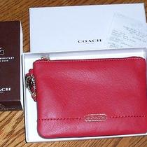 Nwt Coach Campbell Red Leather Small Wristlet in Gift Box F50188 Gift Receipt Photo