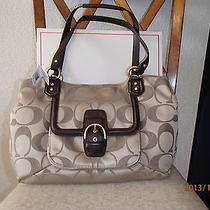 Nwt Coach Campbell Signature Belle Carryall Brass/khaki/mahogany F25294 Photo