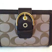 Nwt Coach Campbell Signature Buckle Medium Wallet Khaki/mahogany F50109 Photo
