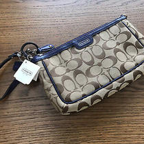 Nwt Coach Campbell Signature C Large Wristlet 51661 W/indigo Blue Leather Trim Photo