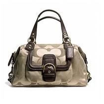 Nwt Coach Campbell Signature Satchel Brass Khaki Mahogany F24741  Photo