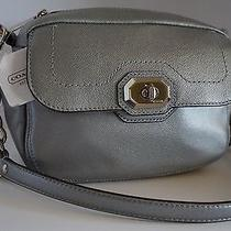 Nwt Coach Campbell Turnlock Platinum Leather Camera Bag 24843 Photo