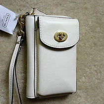 Nwt Coach Campbell Universal Zip Iphone Clutch Wallet Wristlet Ivory - 148 Photo