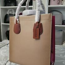 Nwt Coach Cashin Carry Tote 29 in Colorblock Taupe Multi Pink Photo