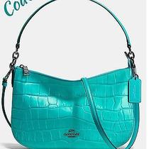 Nwt Coach Chelsea Crossbody Croc Embossed Turquoise Antique Nickel  See Receipt Photo
