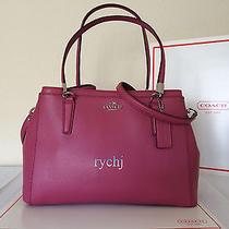Nwt Coach Christie Crossgrain Leather Small Handbag Sunset Red 34673 Photo