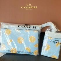 Nwt Coach Corner Zip Wristlet & Id Lanyard Combo Light Blue W/orange Print Photo