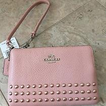 Nwt Coach Corner Zip Wristlet in Lacquer Rivets Pebble Leather 64252 Sv / Blush Photo