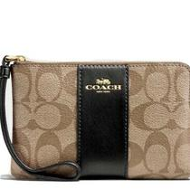 Nwt Coach Corner Zip Wristlet in Signature Canvas and Black Leather Strip Photo