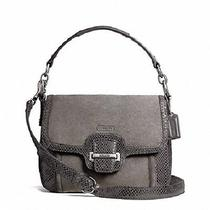 Nwt Coach Crossbody Purse Taylor Suede Flap F2514 Silver / Graphite Gray Photo