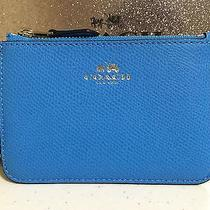 Nwt Coach Crossgrain Leather Card Coin Key Ring Pouch With Gusset F64064 Azure  Photo