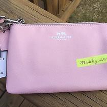 Nwt Coach Crossgrain Leather Corner Zip Wristlet F53429 Silver/petal Pink Cute Photo