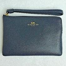 Nwt - Coach Crossgrain Leather  Corner Zip Wristlet F58032 Im/midnight Photo