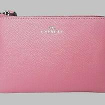 Nwt - Coach Crossgrain Leather  Corner Zip Wristlet F58032 Pink Photo