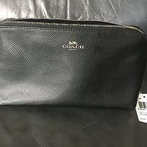 Nwt Coach Crossgrain Leather Large Black Cosmetic Case Bag F53387 Msrp 95 Photo