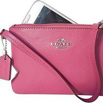 Nwt Coach Crossgrain Leather Small Wristlet Sunset Red F52850 Photo