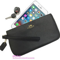 Nwt Coach Crossgrain Leather Wristlet Wallet 65555 Black Fits Iphone 6 Handy Photo