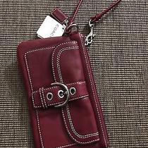 Nwt Coach Designer Wristlet Burgundy Leather Buckle Photo
