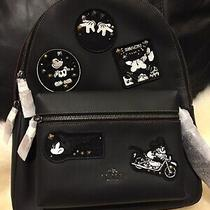 Nwt Coach Disney Mickey Multipatch Leather Backpack Photo