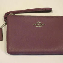 Nwt Coach Double Corner Zip Pebbled Leather Wallet Wristlet in Dark Berry F87590 Photo