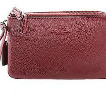 Nwtcoach Double Zipper Wristlet in Burgundy With Silver Accents-F66505 Sv/bu Photo