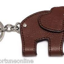 Nwt Coach Elephant Brown Leather Movable Head Good Luck Key Ring Charm Fob 62750 Photo