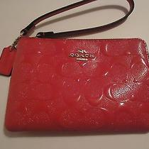 Nwt Coach Embossed Patent Leather Corner Zip Wristlet Wallet Dahlia Pink  F65752 Photo