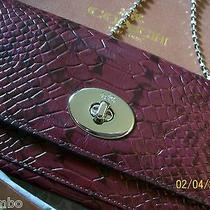 Nwt Coach Exotic Embossed Colorblock Leather Slim Envelope Chain Wallet F53657  Photo