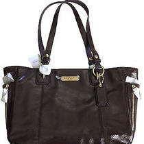 Nwt Coach F20431 Gallery Patent Zipper Tote Mahogany Brown Msrp 328 Photo