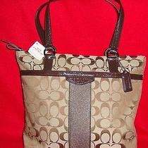 Nwt Coach F28504 Signature Stripe 12cm Tote Khaki Mahogany Photo
