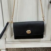 Nwt Coach F33390 Turnlock Chain Wristlet Black Leather Cross Body Bag  Photo