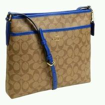 Nwt Coach F35938 Signature Crossbody File Bag Khaki/blue With Gift Box Msrp 225 Photo
