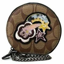 Nwt- Coach F38635 Round Coin Case in Signature Canvas With Glitter Patch 125 Photo