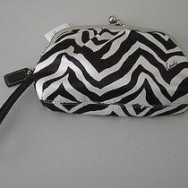Nwt - Coach F42988 Beige/mahogany Zebra Print Kiss Lock Satin Wristlet Purse  Photo