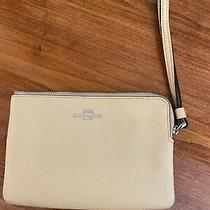 Nwt Coach F58032 Corner Zip Wristlet Crossgrain Leather Flax (Yellow) Wallet Photo