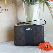 Nwt Coach F58035 Signature Pvc Leather Corner Zip Wristlet Brown Black 78 Photo