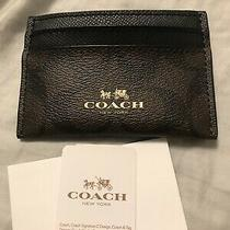 Nwt Coach F63279 Signature Pvc Leather Card Case Brown/black Photo