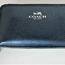Nwt Coach F63921 Crossgrain Leather Metallic Blue Double Zip Small Coin Wallet Photo