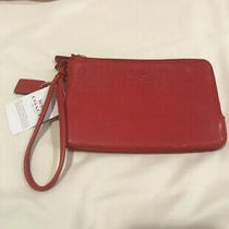 Nwt Coach F66505 Pebble Leather Double Corner Zip Small Wristlet True Red Photo