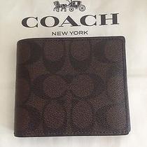 Nwt Coach F74993 Mens Signature Compact Id Wallet Mahogany/brown 175 Photo
