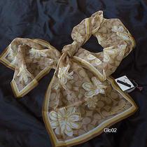 Nwt Coach Floral Khaki Gold Signature Silk Sheer Wrap Long Oblong Scarf Photo