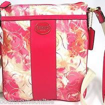 Nwt Coach Floral Optic Art Crossbody Stripe Swingpack Pink/coral/leather 49215 Photo