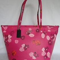Nwt Coach Floral Print Zip Top Tote Purse Handbag Bag Pink F35161 Floral Print Photo