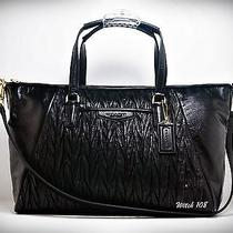 Nwt Coach Gathered Leather Satchel in Black Photo